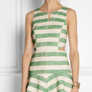TIBI Green Ecru striped Drop Hem Sleeveless Dress